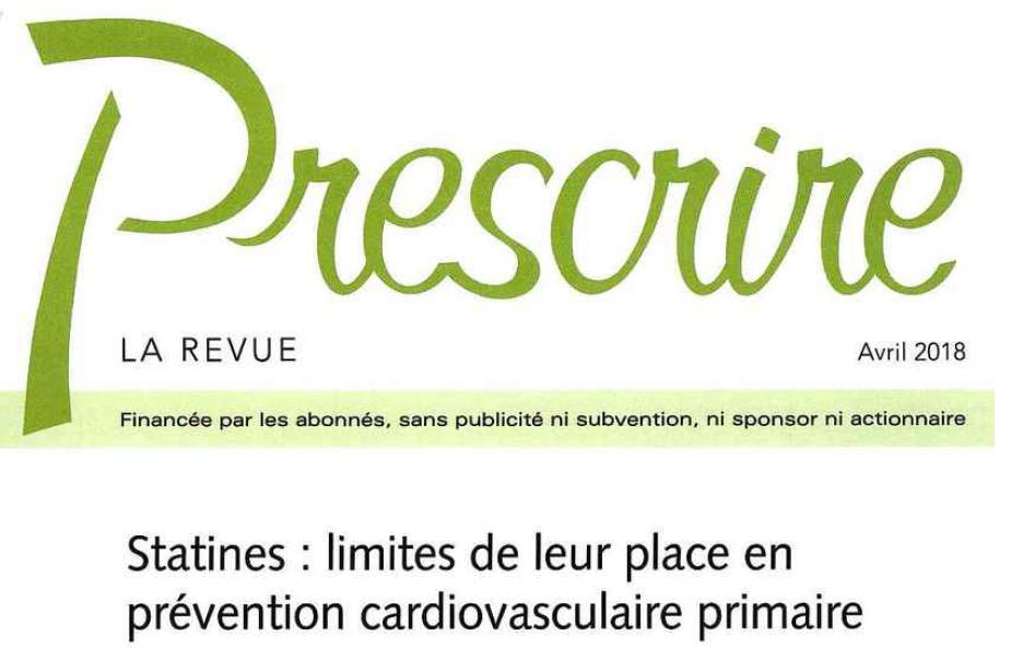 Prescrire Avril 2018